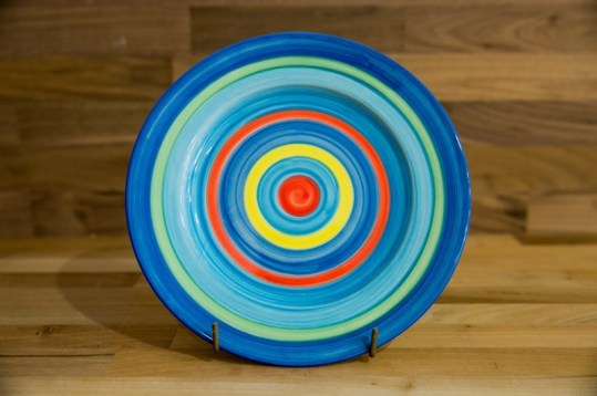 Horizontal Stripey 8″ side plate in blue