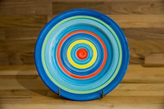 Horizontal Stripey 11″ dinner plate in blue