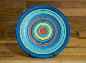 Horizontal Stripey 11″ dinner plate in blue