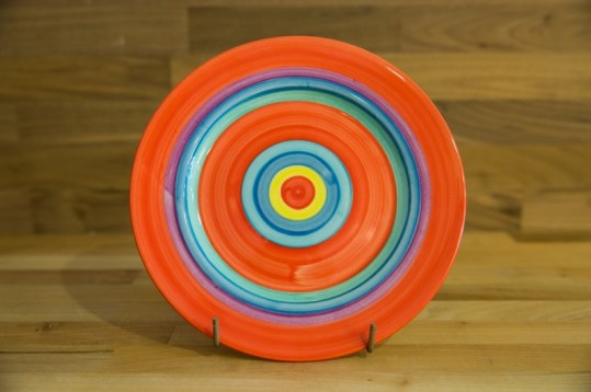Horizontal Stripey 11″ dinner plate in red