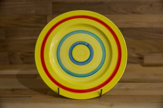 Horizontal Stripey 8″ side plate in yellow