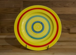Horizontal Stripey 11″ dinner plate in yellow