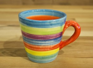 Horizontal Stripey small tapered mug in candy