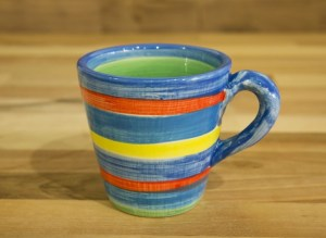 Horizontal Stripey small tapered mug in blue