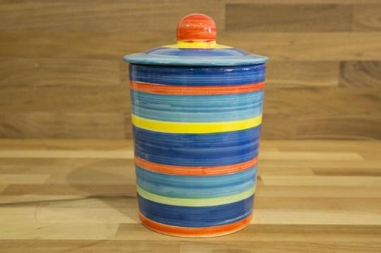 Horizontal stripey tea caddy in blue