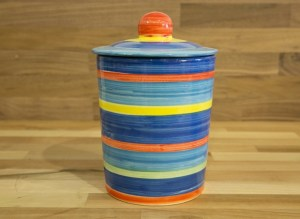 horizontal stripey storage jar in blue