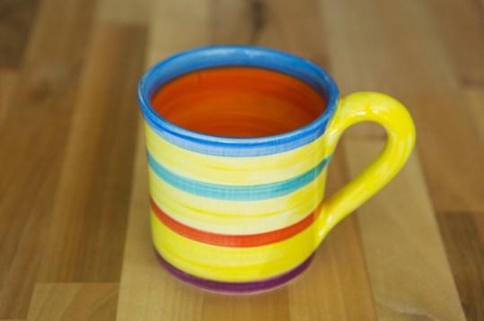 Horizontal Stripey small parallel mug in Yellow