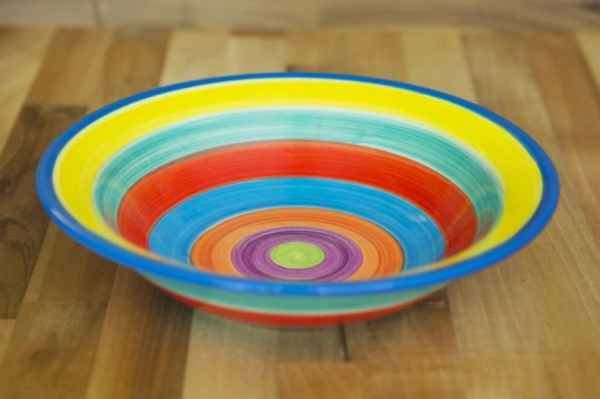 Horizontal stripey pasta bowl in Candy