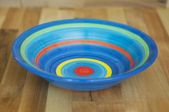 Horizontal stripey pasta bowl in blue