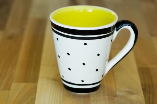 Black and White large tapered mug in Polka Dot