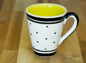 Black and White large tapered mug in Polka Dot