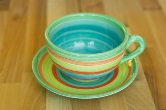 horizontal stripey cup and saucer in green