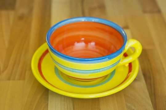 horizontal stripey cup and saucer in yellow