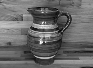 Black and White large jug in Broad Stripe