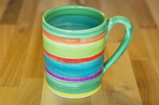 Horizontal Stripey parallel pint mug in green