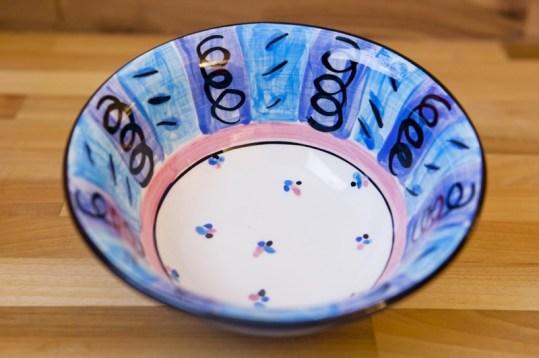 Vertical stripey cereal bowl in blue