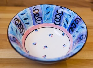 Vertical stripey cereal bowl in blue