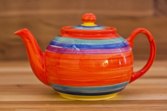 Horizontal Stripey medium teapot in red
