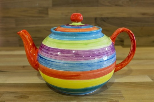 Horizontal Stripey large Teapot in Candy