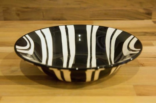 Black and White pasta bowl in Broad Stripe