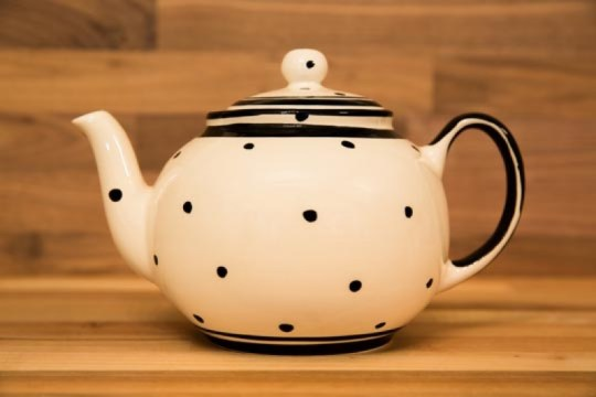 Black and White small teapot in Polka Dot