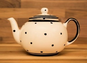 Black and white large Teapot in Polka Dot
