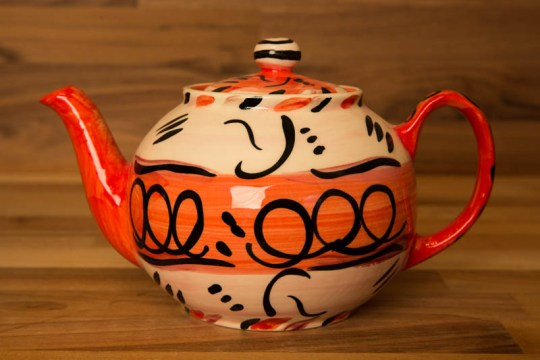 Abstract mini teapot in red