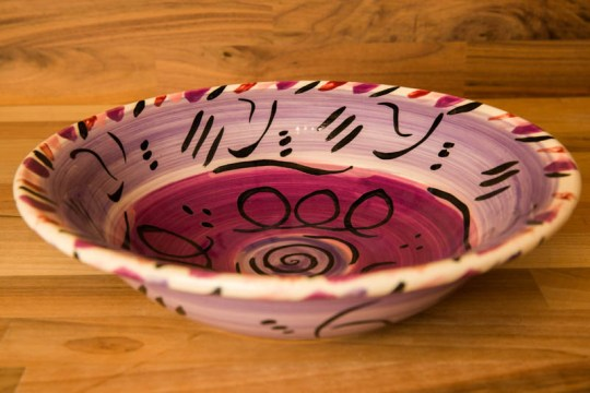 Abstract pasta bowl in purple