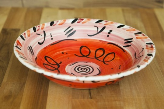 Abstract pasta bowl in red