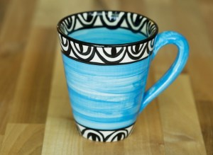 Aztec small tapered mug in bright blue