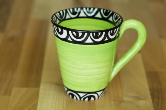 Aztec small tapered mug in lime green