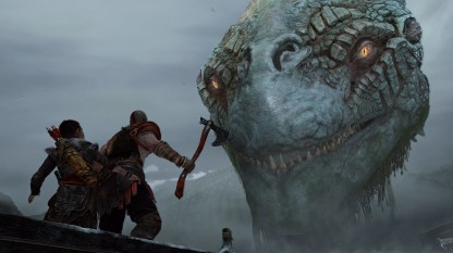 Giant creatures are a GoW trope and they're here in spades
