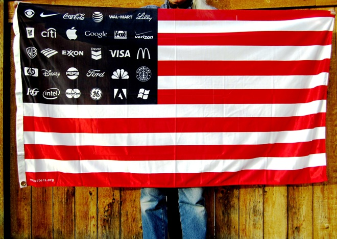 American flag with the stars replaced by corporate logos