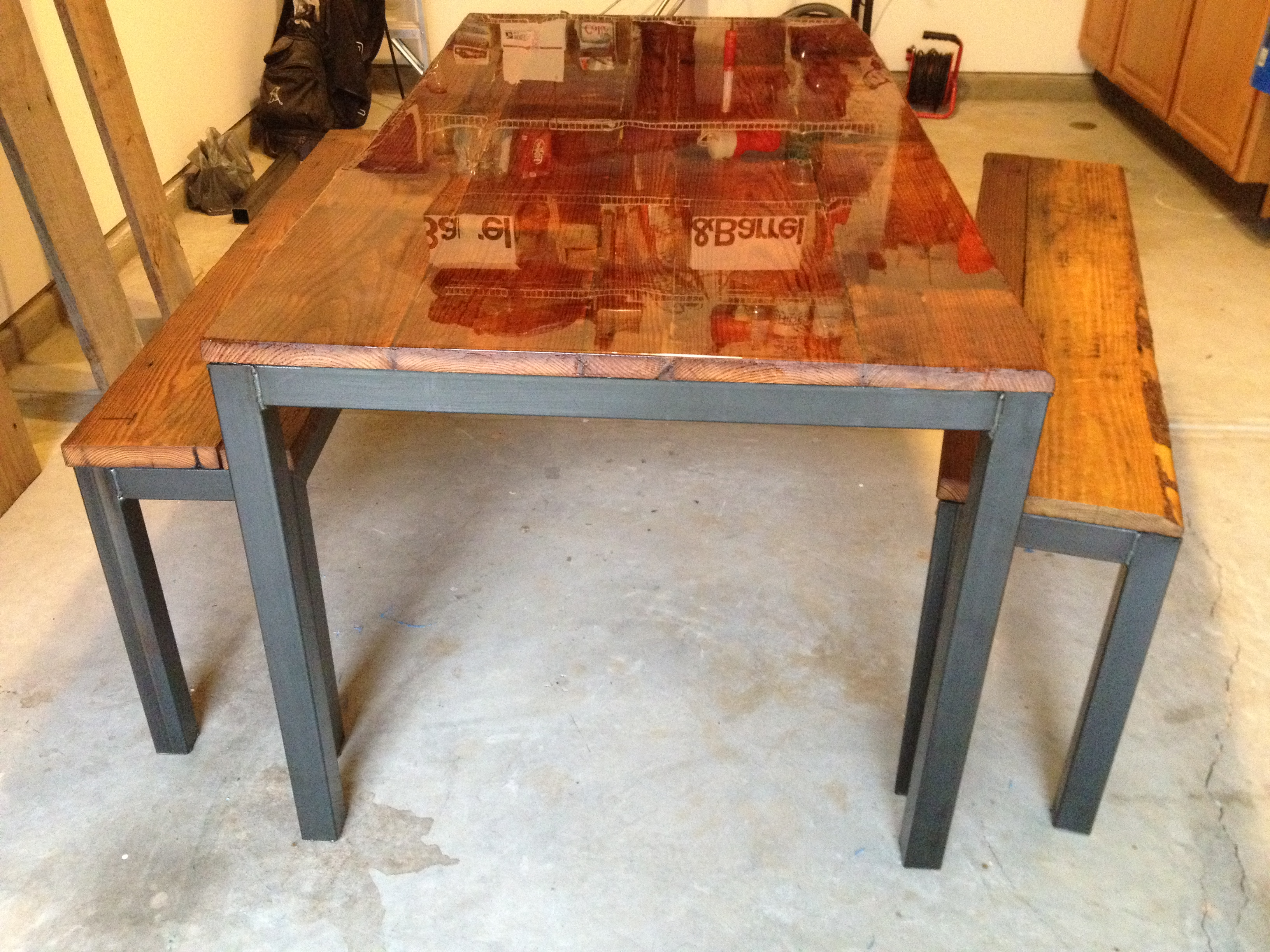 steel kitchen table laminate flooring in framed and benches reclaimed apparatus design image