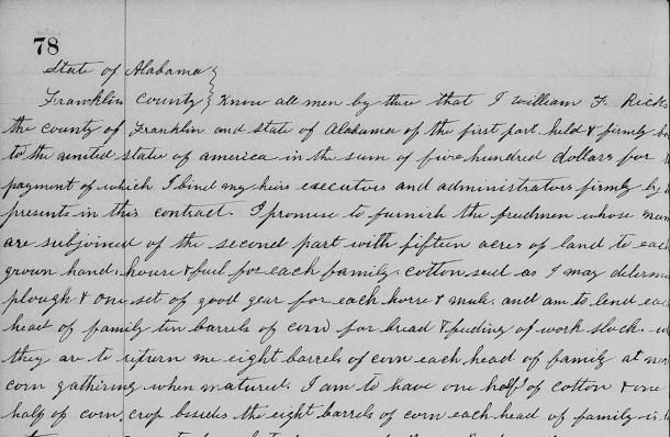 Freedmens Bureau contract