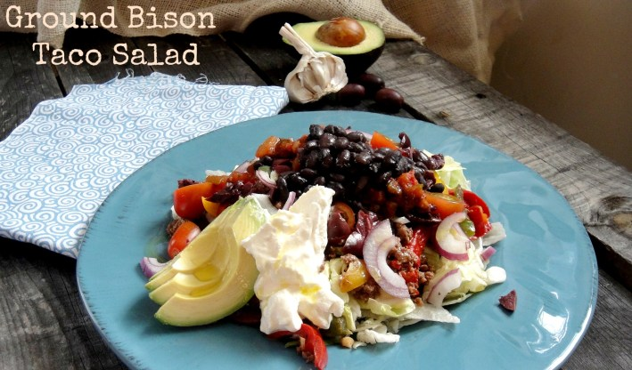 ground bison taco salad