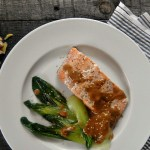 Salmon and Baby Bok Choy with Sesame Drizzle