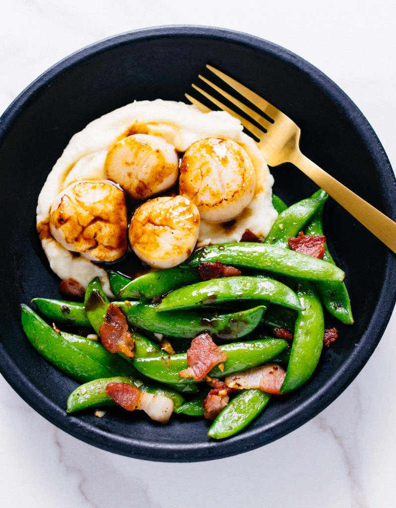 Scallops with bacon and snap peas | Reclaiming Yesterday