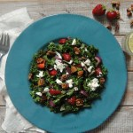 Kale and Strawberry Salad with Goat Cheese and Toasted Pecans