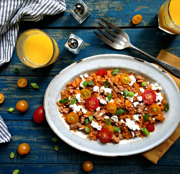 Sweet Potato Hash with Chorizo and Goats Cheese