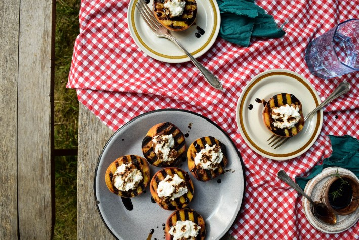 Grilled Peaches with Vanilla Ricotta and Rosemary Bourbon Sauce