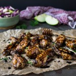 Honey Bourbon Balsamic Chicken Wings with Granny Smith Apple Slaw