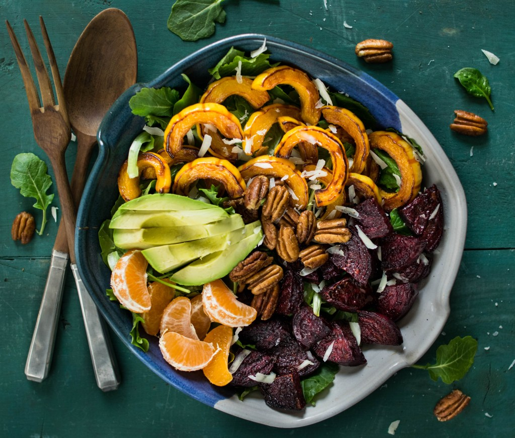 Roasted Beet and Delicata Salad with Candied Ginger Pecans and Tahini Citrus Dressing