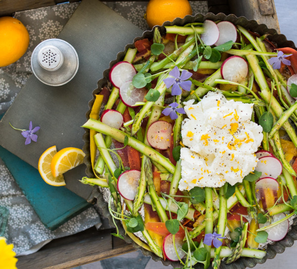 Shaved Asparagus Spring Salad with Ricotta and Brown Butter-Meyer Lemon Vinaigrette