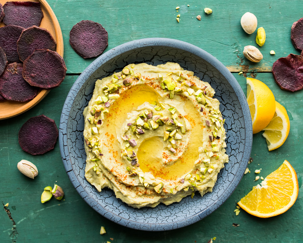 White Bean and Avocado Dip with Pistachios and Argan Oil