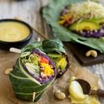 Purple Sweet Potato Collard Wraps with Cashew Honey Mustard