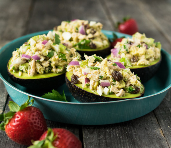 tahini tuna salad stuffed avocados