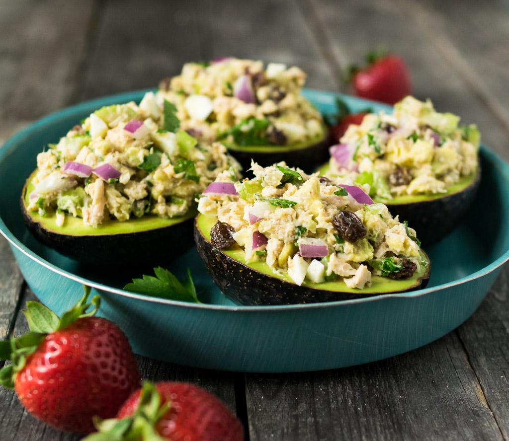 tahini tuna salad stuffed avocados