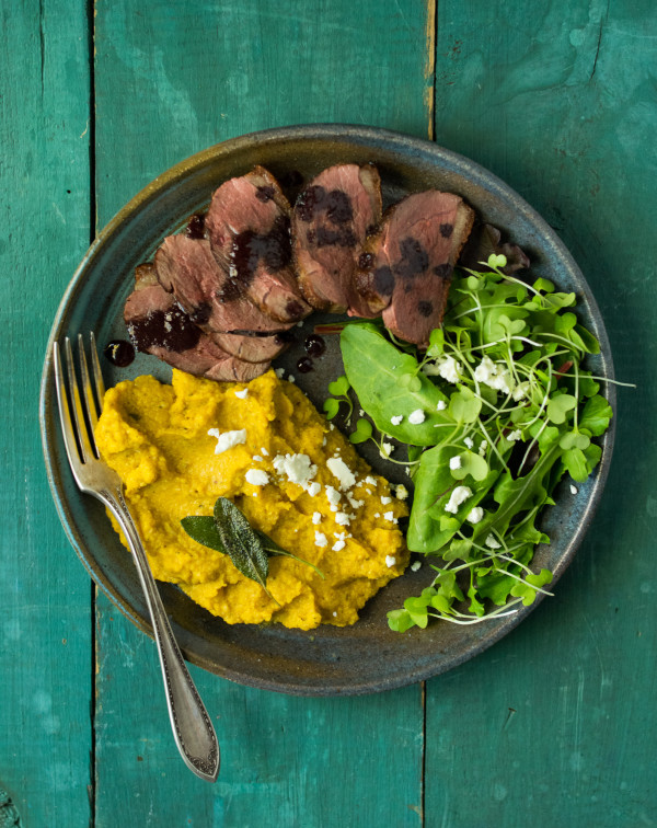Duck Breast with Sage, Pumpkin, and Roasted Cauliflower Puree