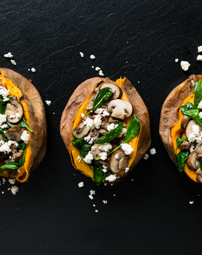 Sausage, Spinach, and Mushroom Stuffed Sweet Potatoes | Reclaiming Yesterday
